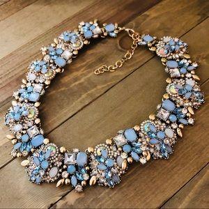 Crystal statement necklace,Blue crystals,Aurora